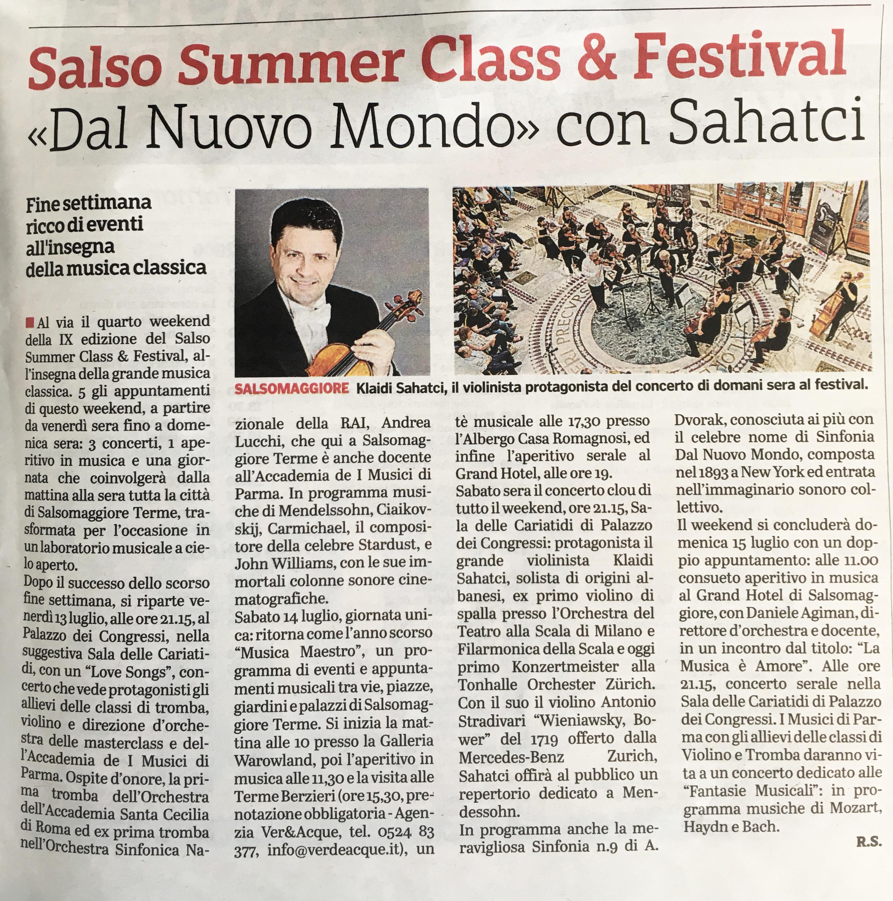 Salso Summer Class &Festival «Dal Nuovo Mondo» con Sahatci
