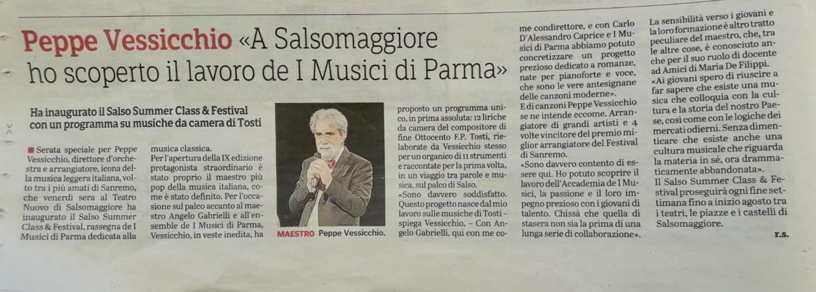 Peppe Vessicchio «A Salsomaggiore ho scoperto il lavoro de I Musici di Parma»