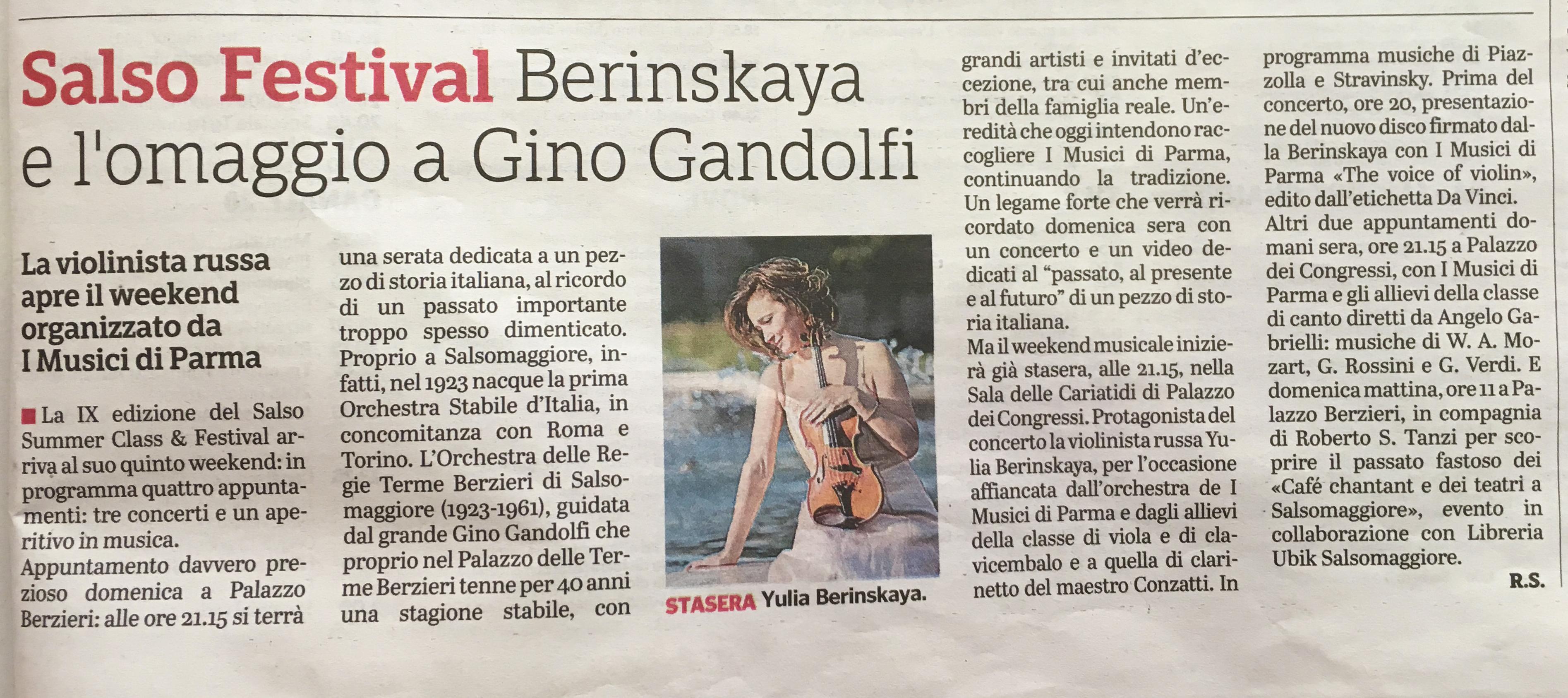 Salso Festival Berinskaya e l'omaggio a Gino Gandolfi